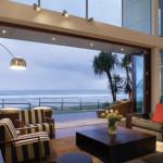 Sunrise view Centor Arquitectural Screens for Bi-folding Doors overlooking the ocean