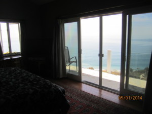 View from Master Bedroom of White Extruded Aluminum Sliding Patio Screen Door installed in Malibu Oceanview Home