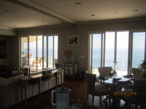 View from Living Room of Sliding Patio Screen Doors installed in Malibu Oceanview Home