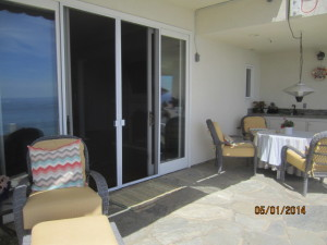 View from Deck of Sliding Patio Screen Doors installed in Malibu Oceanview Home