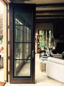 Calabasas installation of custom made wood screen door panels
