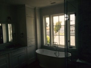 Santa Monica installation of custom made window screens in bathroom