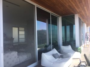 Oversized Anodized Silver Sliding Screen Doors in Malibu Mountains