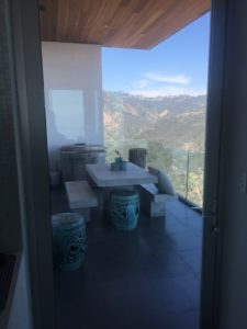Kitchen installation of Anodized Silver Hinged Screen Door in Malibu