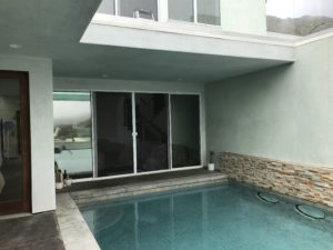 White Double Set Sliding Screen Doors with Meeting Rail